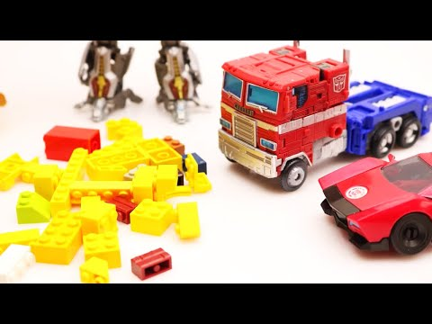 Transformers Bumblebee vs Optimus Prime Stop motion Robot Watch, Jazz, Police Car & Lego Grave theft