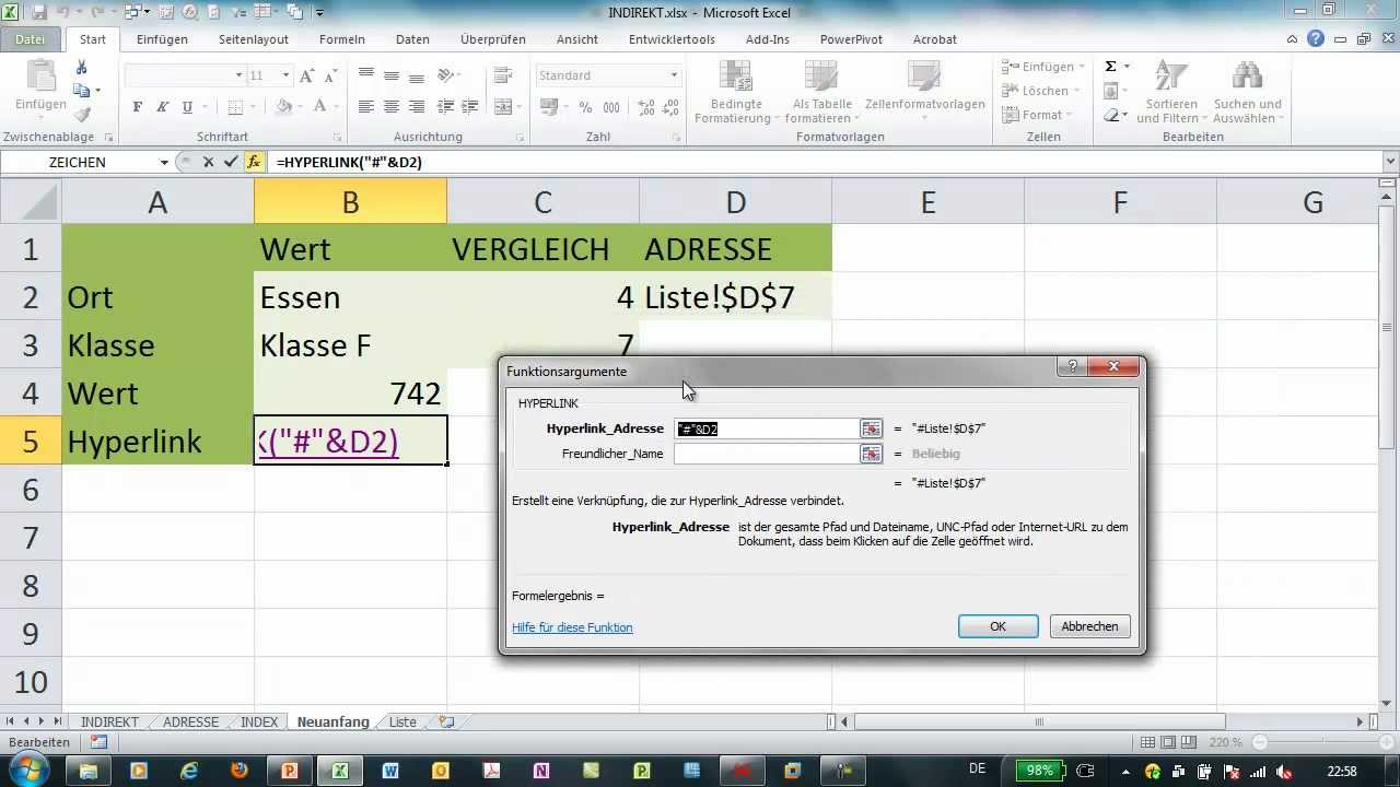 Excel - HYPERLINK - variable Verlinkung auf Zellen einer Matrix ...