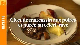 Civet de marcassin aux poires et purée au céleri-rave