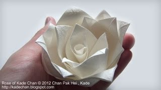 How to fold Origami Rose of Kade Chan 摺紙玫瑰花教學 ( Kade Chan )