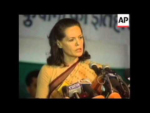 INDIA: DELHI: SONIA GANDHI PRESS CONFERENCE