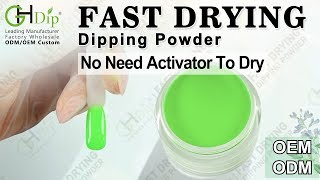 Neon Color Green Dip Nails Arts by Fast Drying Dip Powder