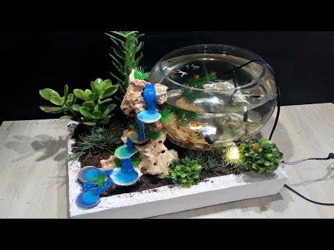 DIY Aquarium with Hot glue waterfall