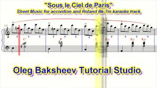 "Accordion Sheet Music of ""Under Paris Skies"" or  ""Sous le Ciel de Paris"". New Version"