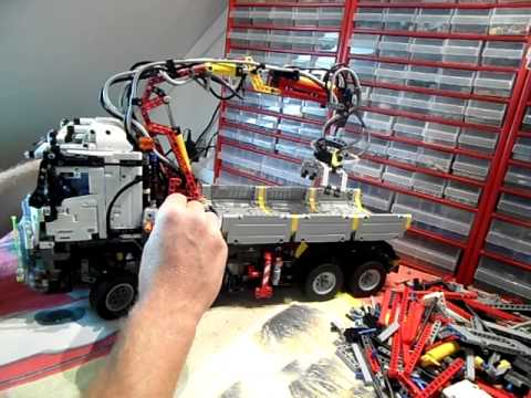 lego mercedes arocs 3245 42043 mod z kraan youtube. Black Bedroom Furniture Sets. Home Design Ideas
