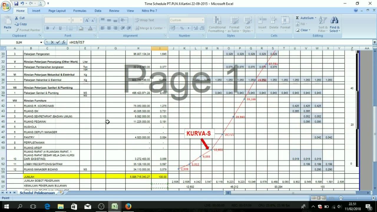 Cara Membuat Time Schedule Kurva S Dengan Microsoft Excel Pemula