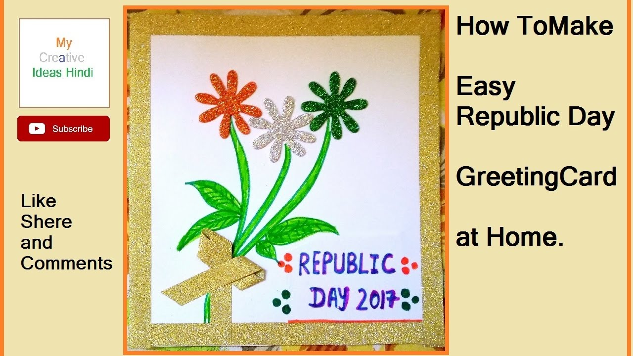 How to make easy republic day greeting card at home diy 2 2018 how to make easy republic day greeting card at home diy 2 2018 m4hsunfo