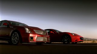 Cadillac CTSV Vs Ferrari California Drag Race - Top Gear USA - Series 2