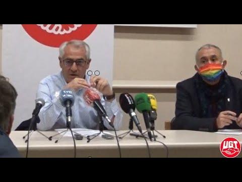 Rueda de prensa de Pepe Álvarez y Jesús Santos en la sede de UGT-Navarra