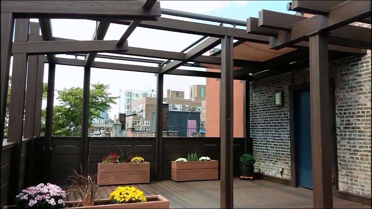 Nyc terrace deck pergola shade motorized awning tosa for Terrace pergola