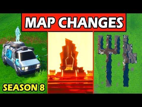 ALL *SECRET* MAP CHANGES! RESPAWN VANS + FIRE THRONE! FORTNITE SEASON 8 (NEW LOCATIONS)
