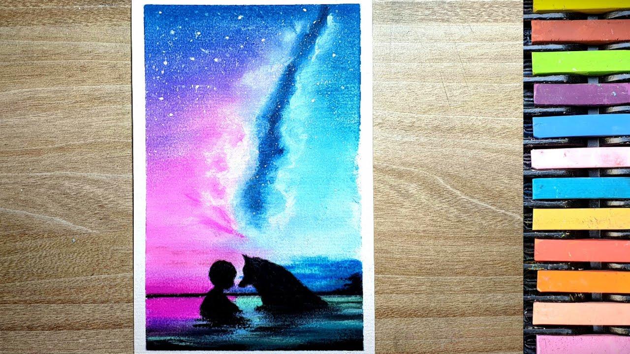 Vẽ tranh galaxy đơn giản bằng phấn tiên   K37P1 Art
