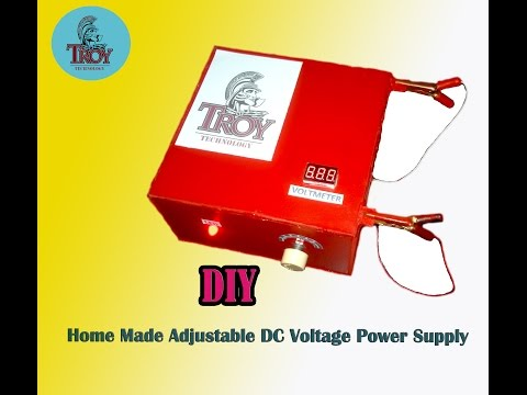 How To make a Home Made Adjustable DC Voltage Power Supply (DIY)