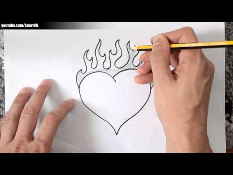 Como dibujar un corazon con fuego