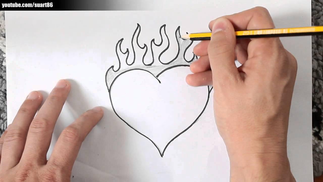 Como Dibujar Un Corazon Con Fuego Youtube