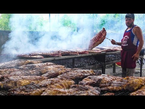 HUGE Quantities Of Ribs Grilled At The Ribs Festival. Italian Street Food