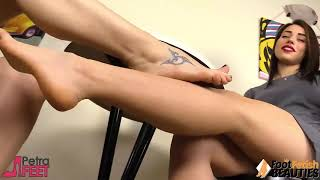 Footsie by two nice girls with tatoos on feets ...