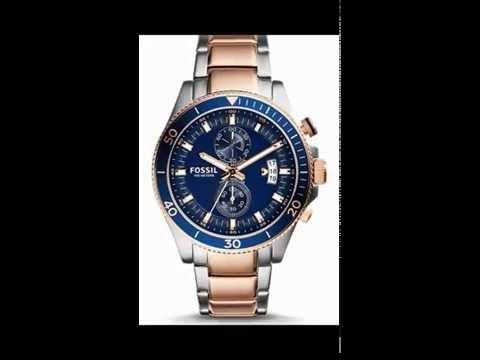 660ab9cef  ساعة فوسيل ويكفيلد زرقاء للرجال بسوار من الستانلس ستيل كرونوغراف - CH2954  - YouTube