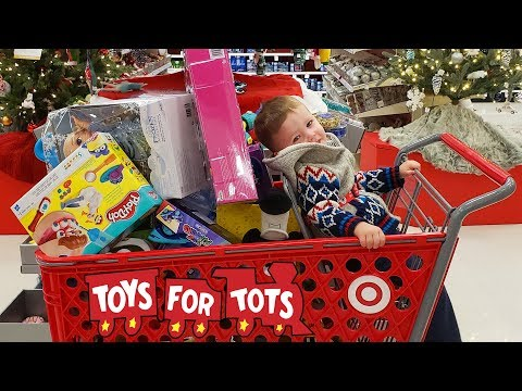 Toys For Tots Target Christmas Present Toy Hunt Shopping Spree Fun Kids Video by Kinder Playtime