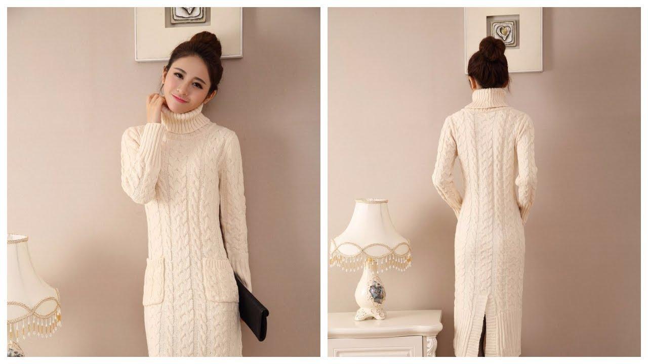 9ae4b545368 Одежда с AliExpress - Вязаное зимнее женское платье. - YouTube