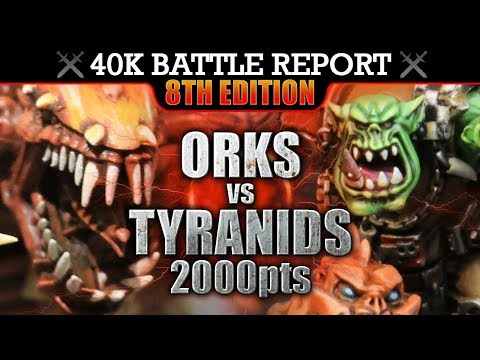 Orks vs Tyranids Warhammer 40K Battle Report MEAT'S BACK ON THE MENU! 8th Edition 2000pts | HD