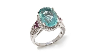 Colleen Lopez 6.76ctw Green Fluorite and Multigem Ring thumbnail