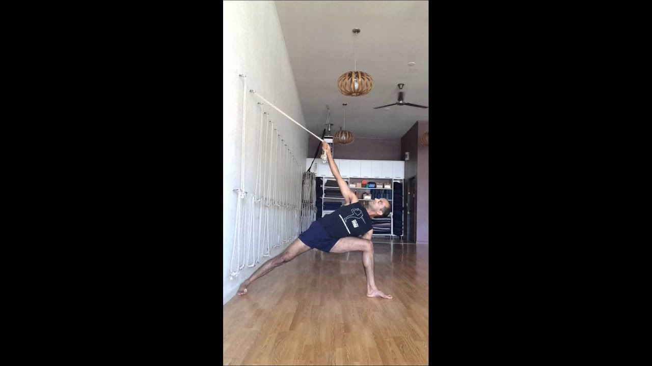Iyengar wall ropes sequence youtube for How to make a rope wall