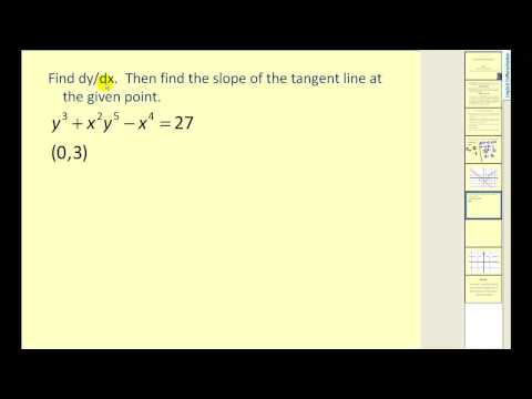 Examples using Implicit Differentiation (solutions, s ... on