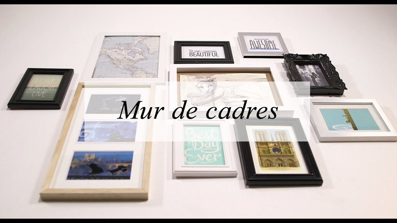D co mur de cadres mes conseils et le r sultat youtube for Mur de photo deco