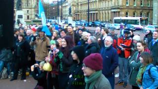 Glasgow sings Fields of Athenry at Thatcher death party 2013
