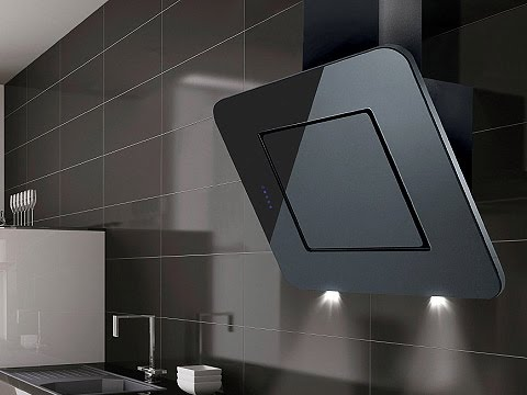 nexon angled black glass kitchen extractor luxair cooker. Black Bedroom Furniture Sets. Home Design Ideas