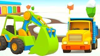 Helfer Autos. Ein Cartoon. Ein Kinder-Bagger und LKW für Kinder