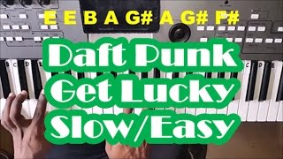 Daft Punk Get Lucky SLOW Easy Piano Tutorial - ft. Pharrell Williams
