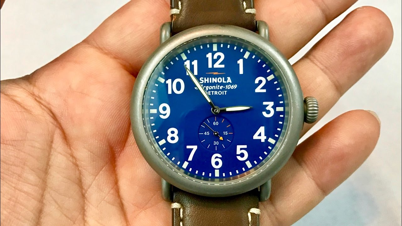 16000662a The sandblasted stainless steel 47mm Shinola Runwell Royal Blue Dial & Nut  Brown Leather Watch