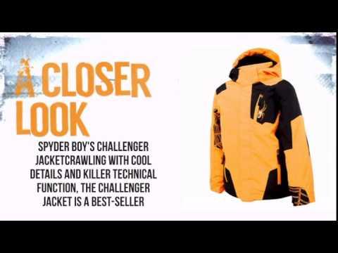 Spyder Challenger Jacket Boys'- Bryte Orange/Black - TheSkiBum.com