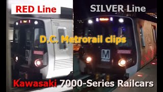 WMATA DC Metrorail Clips: Kawasaki 7000-Series Railcars on the Red and Silver Lines