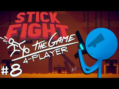 Stick Fight: The Game - #8 - Snake Grenades??!! (4 Player Gameplay)