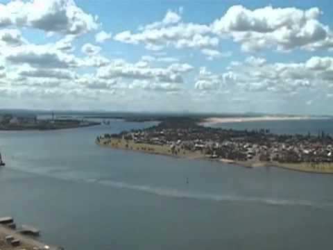 Helicopter flight over Newcastle Harbour