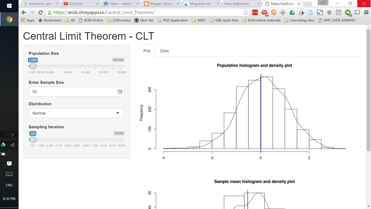 Central Limit Theorem Clt Simulation With Shiny App And