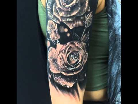 Mehndi Tattoo Half Sleeve : Realism rose half sleeve! youtube