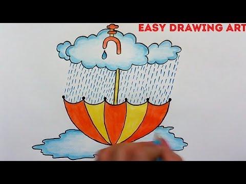 Repeat how to draw save rain water scenery for kids || rain