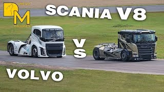 VOLVO IRON KNIGHT vs SCANIA CHIMERA 2000 HP TRUCK RACING GIANTS HEAD TO HEAD
