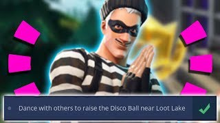 Fortnite - ALL Week 5 Challenges: Dance with others to raise the Disco Ball near Loot Lake