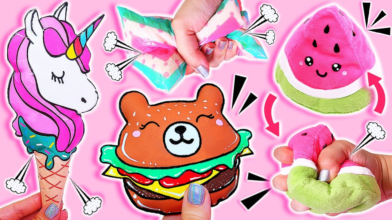 🦄🍔🍉 4 DIY Squishies Ideas Best Compilation TIKTOK Fidget toys! Anti-stress fidgets Paper Squishy 🦄🍔🍉
