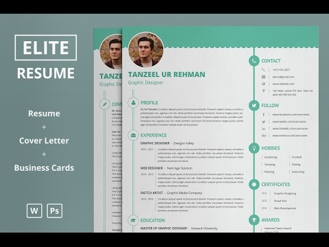 elite resumecv template microsoft word photoshop formats download - Resume Cv Template