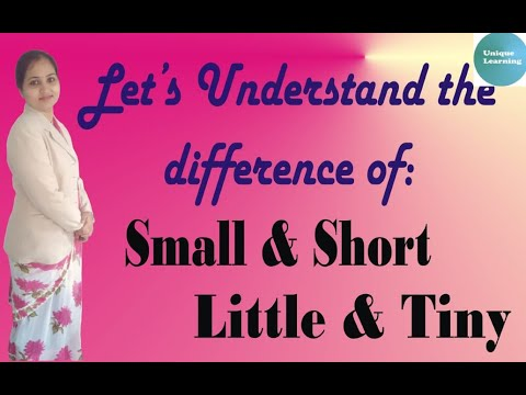 English Grammar topic-Difference of small, little,short and tiny/Important for all age groups