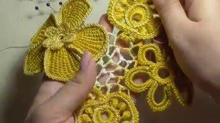 Как вязать сеточку с узелками в ирландском кружеве. Видео-урок.