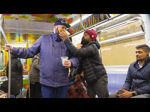 Beating A Homeless Beggar On NYC Subway (Social Experiment)