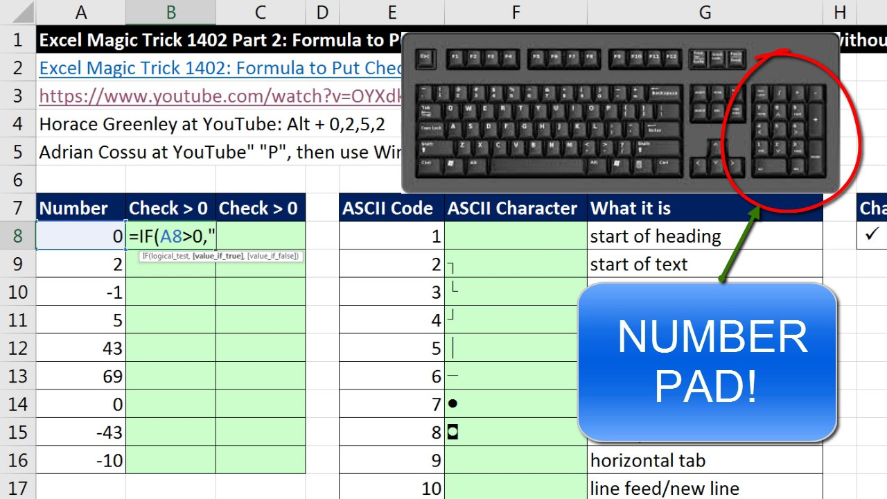 how to add a check marck in excel