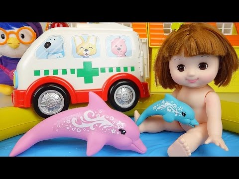 Ambulance Baby Doll Swim in pool & Nancy Dolphin Rescue toys 콩순이 물놀이 구조대